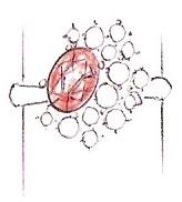Bozzetto anello con rubino e diamanti